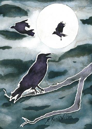 """""""Crow Moon"""" original fine art by D. Renee Wilson"""