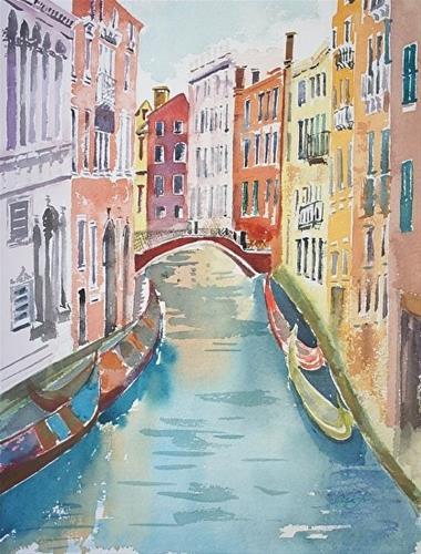 """Venice Canal watercolor  16x12"" original fine art by Lisa Fu"