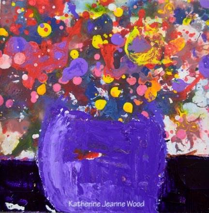 """Colorful purple floral art painting No 102"" original fine art by Katie Jeanne Wood"