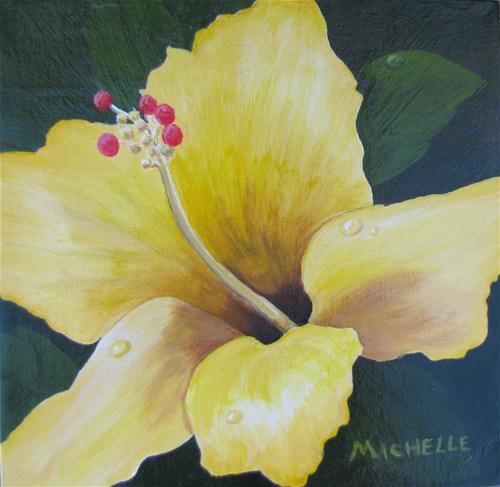 """Yellow Hibiscus With Dew Drops"" original fine art by Michelle Wolfe"