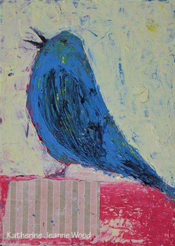 """Mixed media blue bird painting on panel No 30"" original fine art by Katie Jeanne Wood"