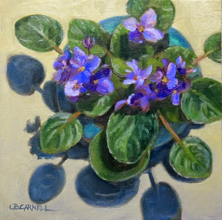 """'African Violets' An Original Oil Painting by Claire Beadon Carnell"" original fine art by Claire Beadon Carnell"