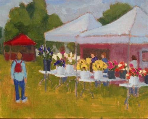 """Boothbay Farmer's Market"" original fine art by Bobbi Heath"