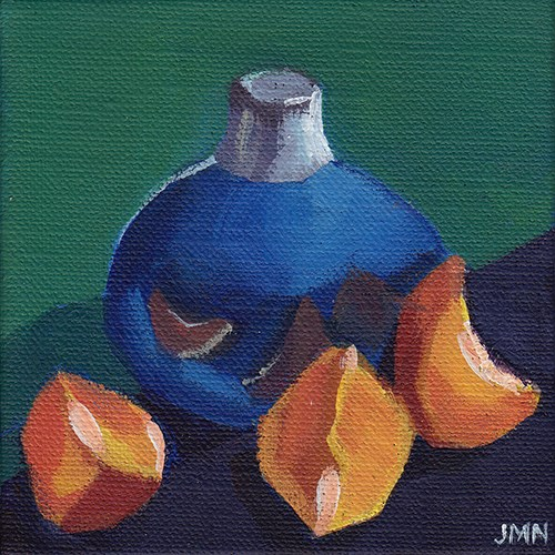 """Clementines: Blue Vase"" original fine art by J M Needham"