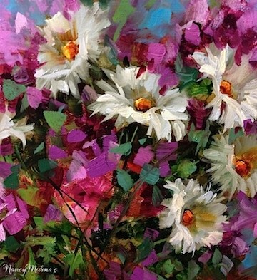 """Necessary Pinkness, Daisies and Delphiniums by Nancy Medina"" original fine art by Nancy Medina"