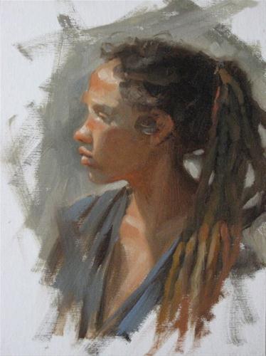 Liz profile 9x12  oil original fine art by Claudia Hammer