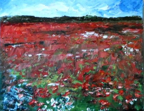 """8 x 10 inch oil Poppy Field"" original fine art by Linda Yurgensen"