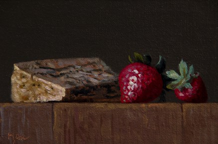 """Still life with Two Strawberries and Cayuga Blue"" original fine art by Abbey Ryan"