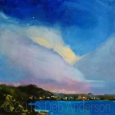 """""""Oil Painting: Cottage Clouds"""" original fine art by Deb Anderson"""