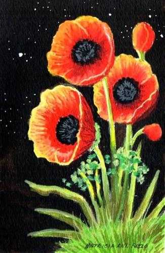 """Red Poppies Mother Nature Doesn't Sleep at Night"" original fine art by Patricia Ann Rizzo"