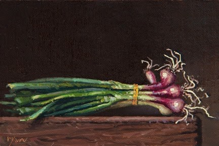 """Spring Onions from Red Earth Farm (+ More Thoughts on FOOD)"" original fine art by Abbey Ryan"