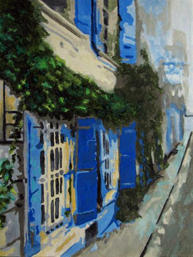 """Blue Shutters"" original fine art by Nan Johnson"