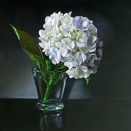 """White Hydrangea 10x10"" original fine art by M Collier"