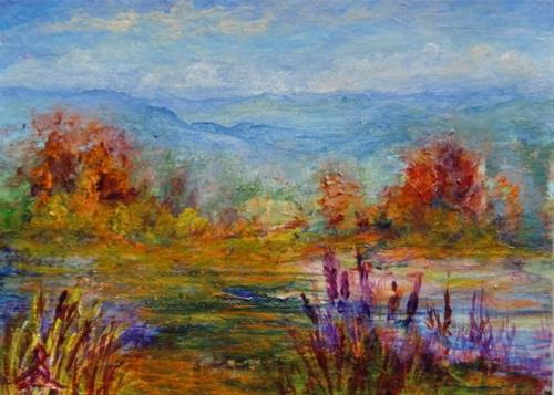 """3232 - LITTLE FALL LANDSCAPE - ACEO Series"" original fine art by Sea Dean"