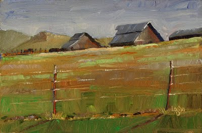 """Barns on Orcutt Road #2"" original fine art by Raymond Logan"
