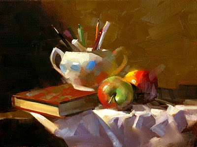 """Apples in Study"" original fine art by Qiang Huang"