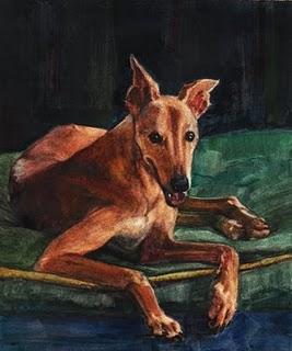 """Watercolor: Retired Racer"" original fine art by Belinda Del Pesco"