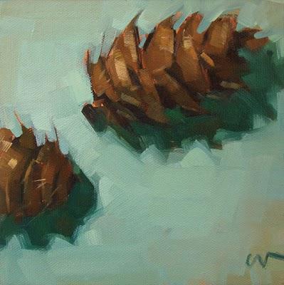 """Pine Cones"" original fine art by Carol Marine"