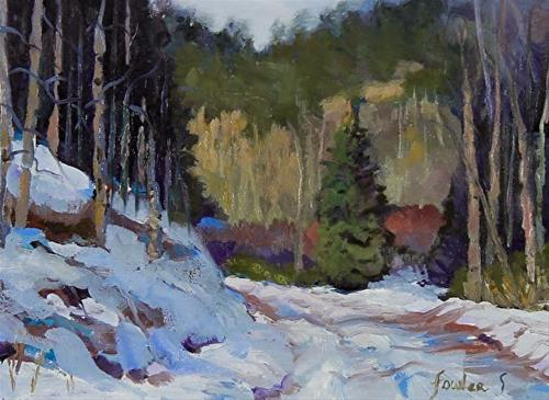 """Colorado Winter Snow Landscape Oil Painting Canyon Road Wintery Day by Colorado Landscape Artist S"" original fine art by Susan Fowler"