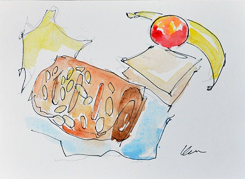"""Breakfast Croissant Still Life Watercolor"" original fine art by Kevin Inman"