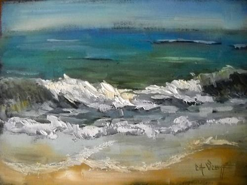 """Seascape Painting, Tropical Beach by Carol Schiff, 6x8 Oil"" original fine art by Carol Schiff"
