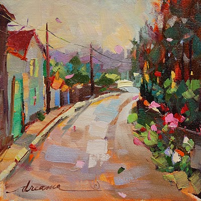 """""""Morning Walk in France SOLD"""" original fine art by Dreama Tolle Perry"""