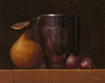 """Still Life with Chestnuts and Local Pear"" original fine art by Abbey Ryan"