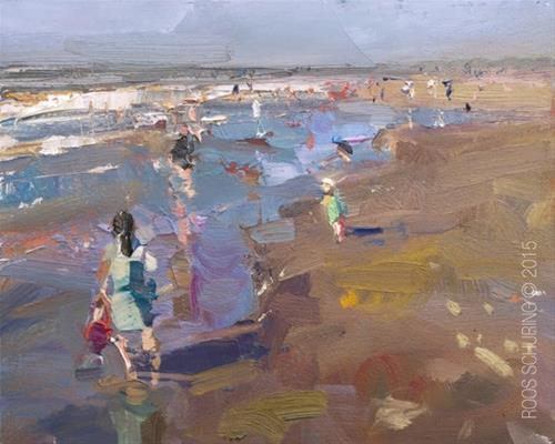 """""""Seascape Pleinair """"Sunny day Perspective"""""""" original fine art by Roos Schuring"""