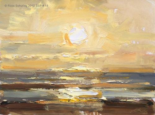 """Seascape spring # 18 Sunset - Zonsondergang"" original fine art by Roos Schuring"