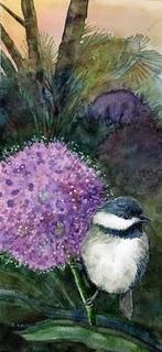 """Watercolor: Carolina Chickadee on an Allium"" original fine art by Belinda Del Pesco"