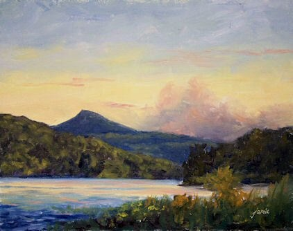 """Sunset in Thomas Cole Country for the Cole House fundraiser"" original fine art by Jamie Williams Grossman"