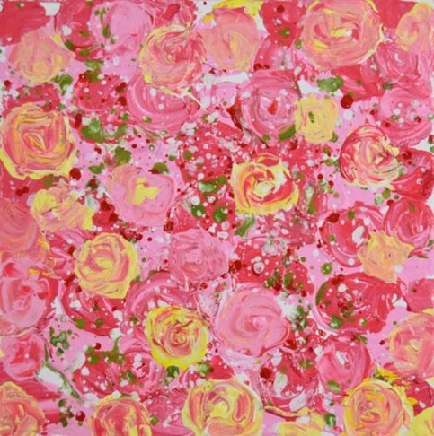 """Pink and yellow cottage chic roses No 179"" original fine art by Katie Jeanne Wood"