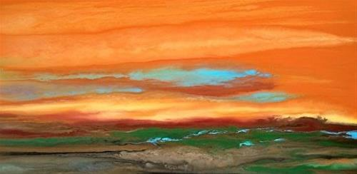 """Contemporary Landscape Art ,Abstract Sunset Painting Blazing Sky Reflected VII by Colorado Contemp"" original fine art by Kimberly Conrad"