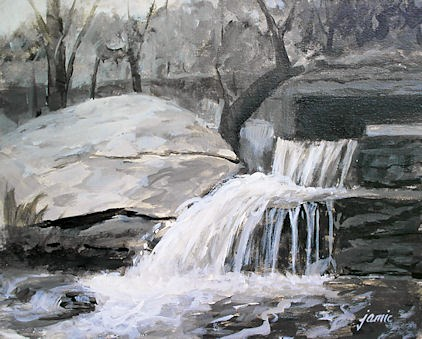 """Shades of Gray at Artists Nest Falls"" original fine art by Jamie Williams Grossman"