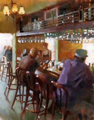"""The Bar at Casablanca"" original fine art by Kathy Weber"