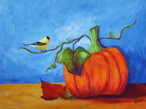 """The Pumpkin and the Finch"" original fine art by Sunny Williams"