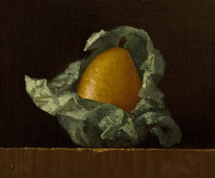 """Yellow Pear Wrapped in Green Tissue Paper  (+ a painting I love)"" original fine art by Abbey Ryan"