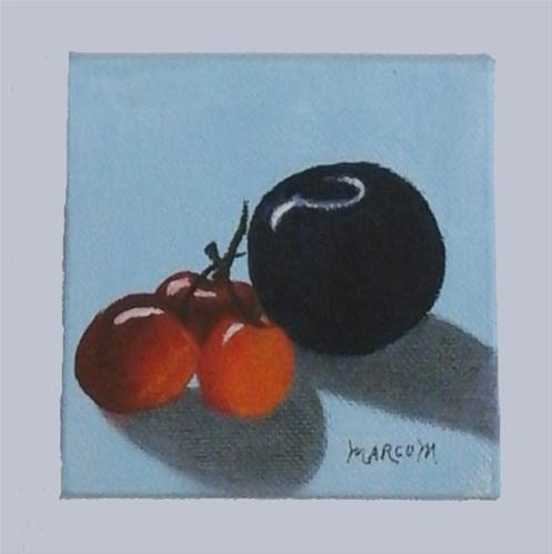 """plum and Cherries"" original fine art by John Marcum"