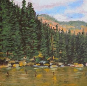"""Mountain Lake"" original fine art by Robert Frankis"