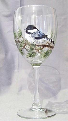 """Glass Art, Painted Wine Glass CHICKADEE FACING LEFT by Mary Arneson Art-Works of Whimsy"" original fine art by Mary Arneson"