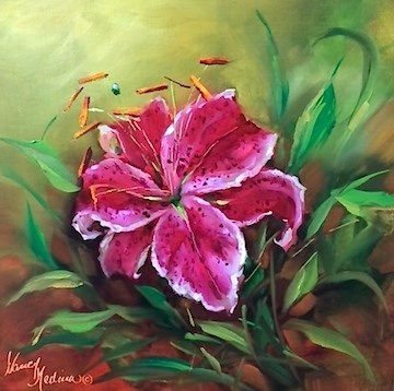 """Night Shine Stargazer - Flower Paintings by Nancy Medina"" original fine art by Nancy Medina"