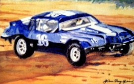 """Braden's Race Car #16"" original fine art by JoAnne Perez Robinson"