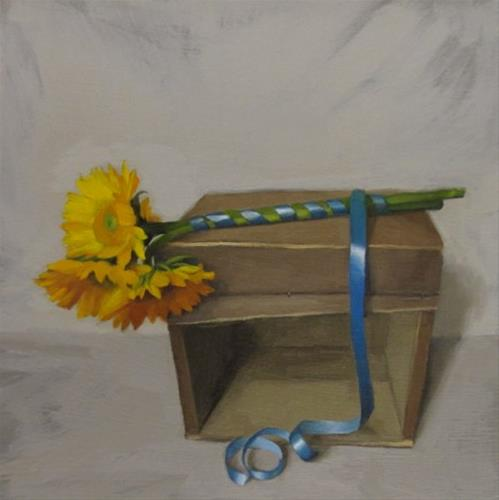 """Tied Up painting of sunflowers on wood crate"" original fine art by Diane Hoeptner"