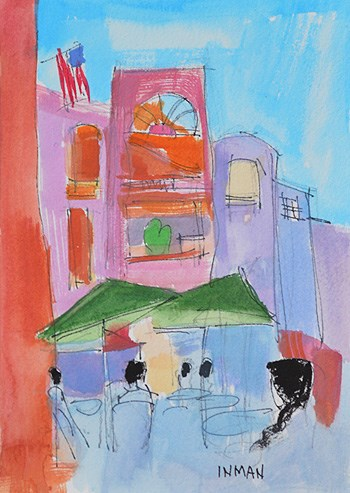 """Coffee in Horton Plaza"" original fine art by Kevin Inman"