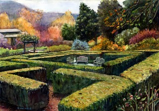 """Watercolor: Descanso Hedge Maze"" original fine art by Belinda Del Pesco"