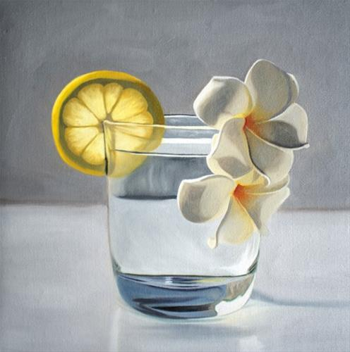 """Lemon Plumeria Tonic"" original fine art by Lauren Pretorius"