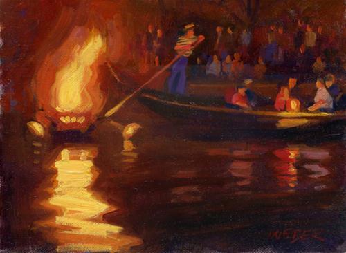 """""""Waterfire I"""" original fine art by Kathy Weber"""
