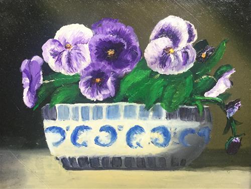 """Pansies in Blue Planter"" original fine art by Jeanne Bossart"