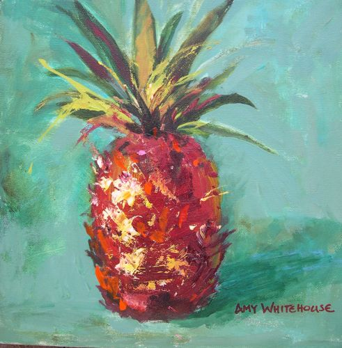 """Hospitality Acrylic Painting Traditional Symbol of Hospitality Pineapple by AZ Artist Amy Whitehou"" original fine art by Amy Whitehouse"
