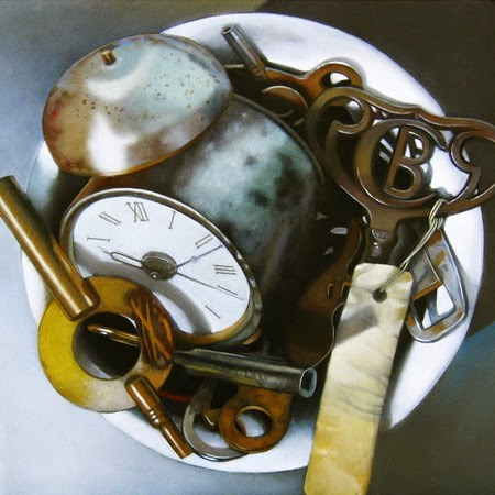 """Clock With Keys 6x6"" original fine art by M Collier"